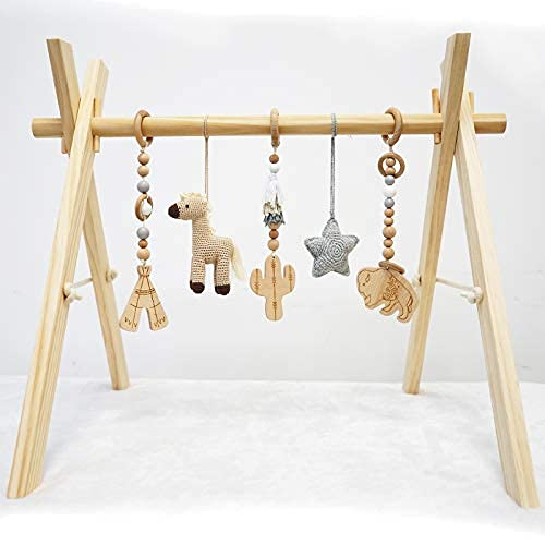 Hello Pumpkin Baby Activity Center – 34 x 27 Inches Handmade Baby Play Gym with 5 Hanging Toys – Premium Untreated Beechwood and Cotton – Educational and Creative Learning Toy for Boys and Girls