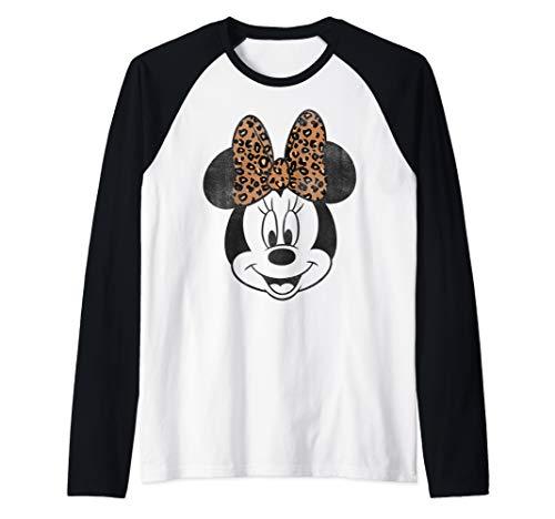 Disney Minnie Mouse Leapord Print Bow Portrait Raglan Baseball Tee