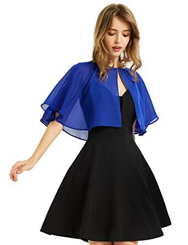 Soft Chiffon Shawl Wraps Shrug for Evening Wedding Women Accessories(Royal Blue)
