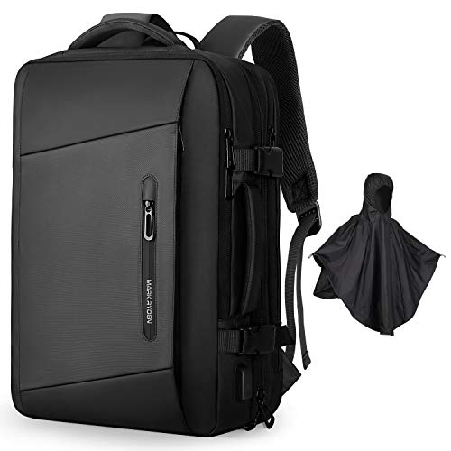 Markryden Laptop Backpack with raincover carry-on travel backpack water-proof expandable backpack with Rain Cover USB Charging Port for School Travel Work Bag Fits 17.3/15.6 Inch Laptop