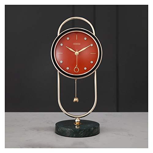 zlw-shop Decorativo Reloj Mármol Lujo Columpio Mesa Reloj hogar Sala de Estar decoración de Moda péndulo Reloj Tabletop Reloj de exploración Reloj Despertador Reloj Reloj de Mesa (Color : Orange)
