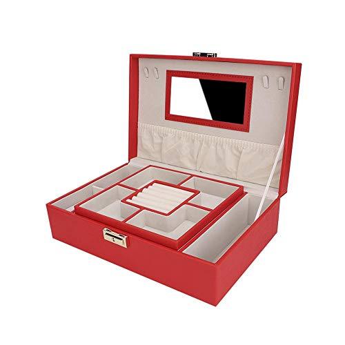 Porta gioielli Custodia per gioielli di grande capacità, organizer per gioielli contenitore per collana vintage, pelle PU per orecchini, bracciali per ragazze, donna(red)