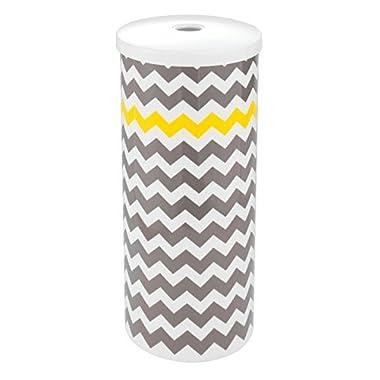 mDesign Chevron Free Standing Toilet Paper Holder for Bathroom Storage - Gray/Yellow