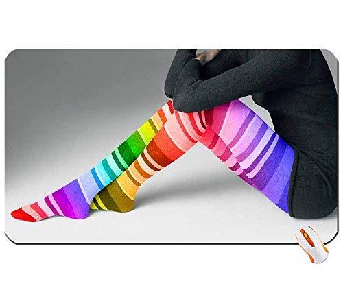 Menschen Beine Kleid Strümpfe drinnen Regenbogen gestreifte Kleidung Big Mouse Pad Abmessungen