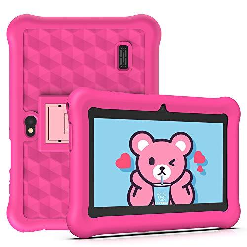 Tablet per Bambini 2 a 12 anni Android 10.0 (Certificato da Google GMS)- Tablet 7 Pollici Quad Core 2GB RAM 32GB ROM Kid-Proof Custodia - Google Play e Gioco Educativo (Rosa)