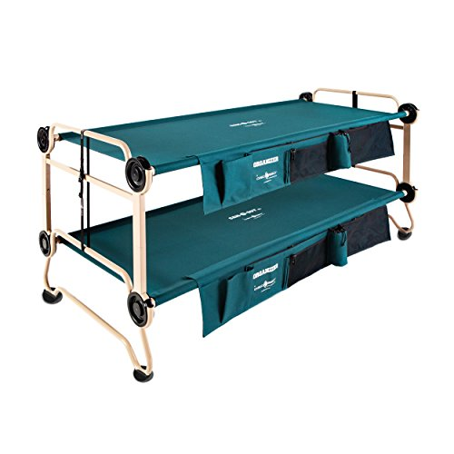 Disc-O-Bed Cam-O-Bunk Large Bunk Combo with 2 Organizers and 4 Anti Slip Footpads, Tan/Green