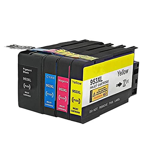 HLDC Reemplazo de Cartucho de Tinta Compatible para HP 953XL, Alto Rendimiento con OfficeJet Pro 7720 7730 7740 8210 8218 8710 8715 Impresora de Chorro de Tinta,4 Colors