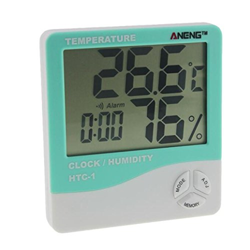 Nacome Indoor Hygrometer Thermometer Digital LCD Screen Multifunctional Hygrometer for Baby,Home, Car, Office (Mint Green)