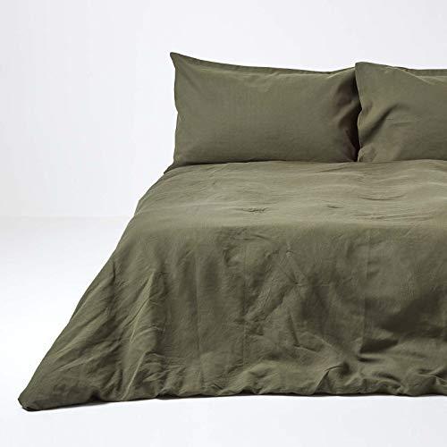 Homescapes Leinen Bettwäsche 3-teiliges Set Grün Unifarben enthält Leinen Bettbezug 240 x 220 cm und Zwei Leinen Kissenbezüge 80 x 80 cm Olivgrün 100% Reine Baumwolle und Französisches Leinen Mischung