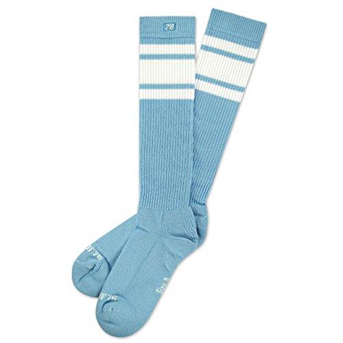 Spirit of 76 Hawaiian Sky Hi | Hohe Retro Socken mit Streifen Babyblau, Weiß gestreift | kniehoch | stylische Unisex Kniestrümpfe Größe L (43-46)