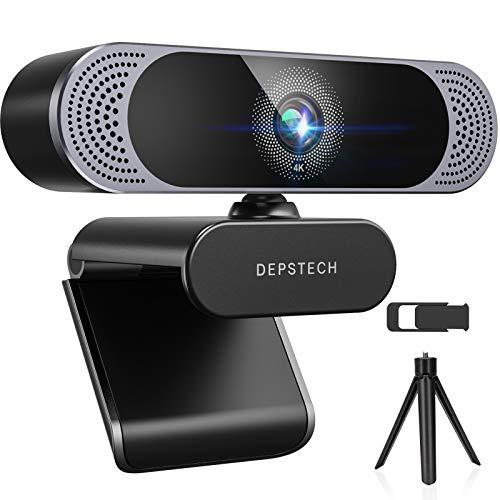 DEPSTECH 4K Webcam mit Mikrofon 3840x2160P Webkamera mit Autofokus/Stereo Dual Mikrofon, USB Plug & Play, Objektivdeckel und Stastiv für PC, Skype, Videochat, Streaming und Aufnahme
