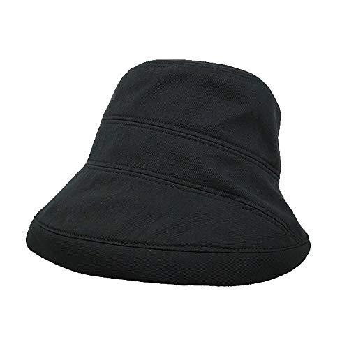 Paja De ala Ancha Sombrero Enrollable De Panamá Sombrero De Playa para El Sol Sombreros De Algodón De ala Ancha para Mujer Sombrero De Playa Plegable UV Gorra De Verano para Viajes (Color : Black)
