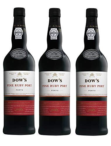 Dows Fine Ruby, Porto - 3 botellas de 75 cl, Total: 2250 ml