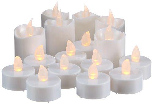 Best Season 067-32 - Velas con luz led (16 piezas: 6 velas grandes y 10 velas en portavelas, incluye baterías), color blanco