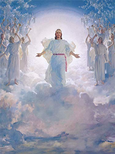 Home Decor Print Oil Painting on Canvas Wall Art,Jesus Christ In Heaven (24x32incf With Frame)