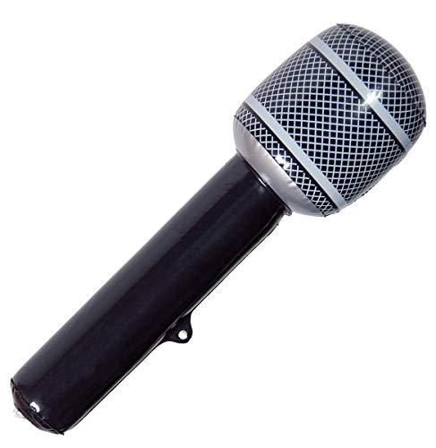 KULTFAKTOR GmbH Aufblasbares Mikrofon schwarz-grau 30cm Einheitsgröße