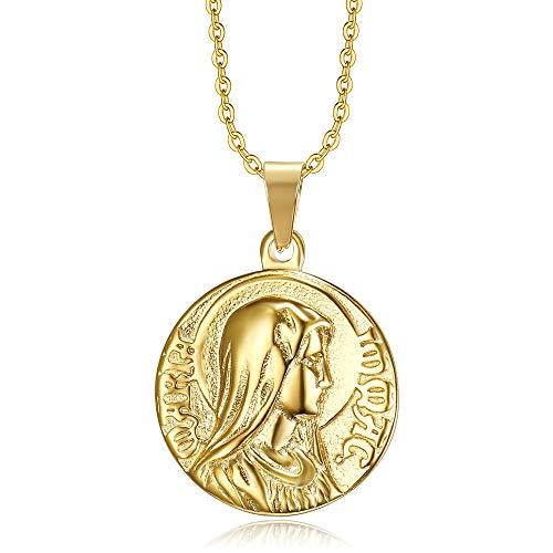 BOBIJOO JEWELRY - Colgante Medalla Milagrosa de la Inmaculada Concepción de la Santísima Virgen María Chapado en Oro de Acero con Oro