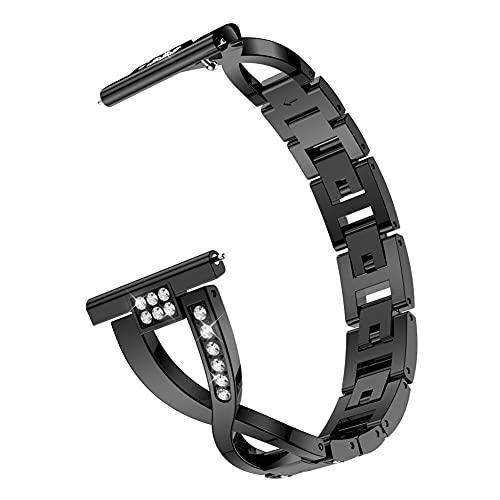 Para Samsu Galaxy Watch Active 2 1diamond Metal Pulsera De Metal Para Galaxy Watch 3 45mm / 41mm / 46mm / 42mm Strap 10688 (Band Color : Black, Band Width : 20mm)