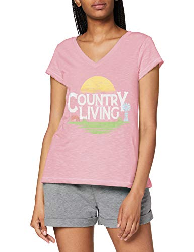Hatley Short Sleeve Pyjama Top Camiseta de Pijama, Vida Rural, M para Mujer