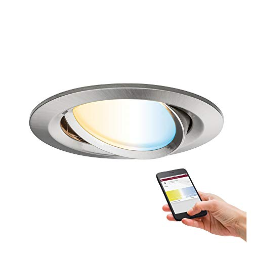 Paulmann 92961 Nova Plus LED Einbauleuchte Smart Home Zigbee Tunable White rund schwenkbar incl. 1x6 Watt dimmbar Einbaustrahler Eisen gebürstet Spot Alu Zink Einbaulampe 2700 K