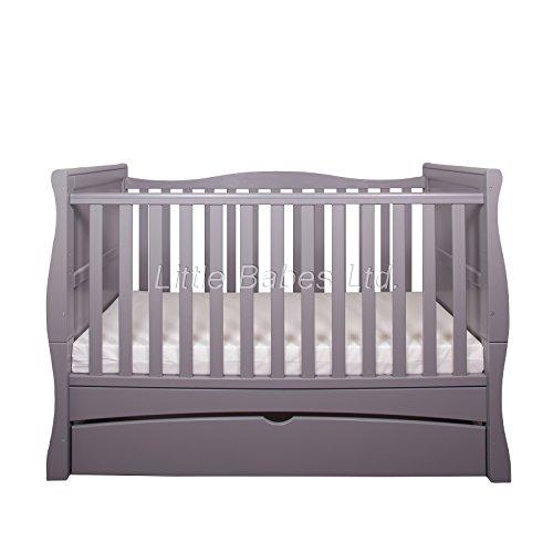 New Little Babes Ltd Grey Convertible Mason Cot Bed + ECO HD Airflow Nursery Fibre Mattress 140x70x10cm / Baby Sleigh Cot Bed & Mattress