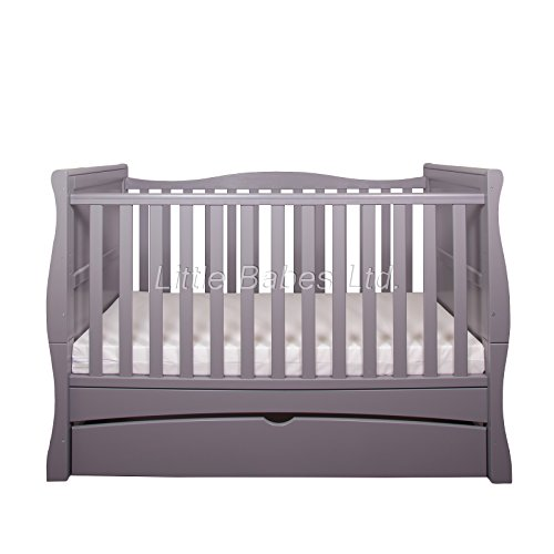 New Little Babes Ltd Grey Convertible Mason Cot Bed + ECO HD Airflow Nursery Fibre Mattress 140x70x10cm / Baby Sleigh Cot Bed & Mattress