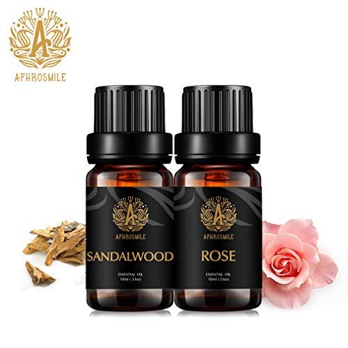 Aceite esencial 100% puro y natural de APHORSMILE EU, rosa/sándalo, botellas de 2/10 ml – mejor efecto de regular la endocina femenina mejorar la apatridia sexual nutre la piel