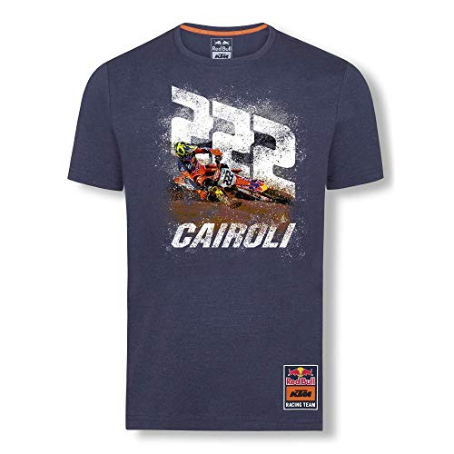 Red Bull KTM Antonio Cairoli 222 T-Camisa, Azul Hombres Large Camisa Manga...