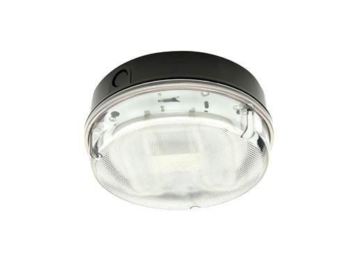 Knightsbridge IP65 HF - Lámpara redonda con difusor prismático y base negra, 16 W, color blanco