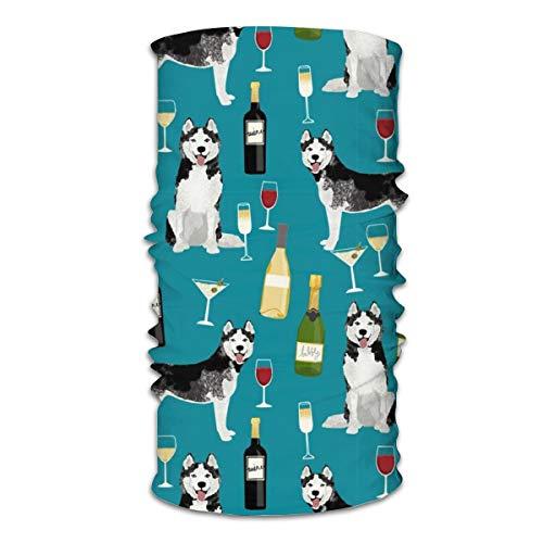 Máscara facial multifuncional unisex para cócteles de vino Husky con raza de perro, bandanas de color verde azulado, deportes y casuales, para el cuello, pasamontañas, bufanda para la cabeza