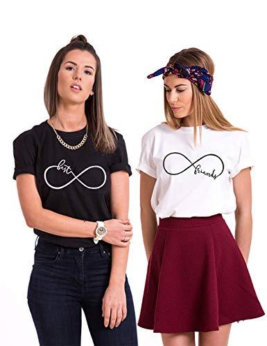 Best Friend T-Shirt für 2 BFF Sister Shirt Damen Sommer Oberteil BFF Geschenke, Schwarz+wei?, BEST-S+FRIEND-S