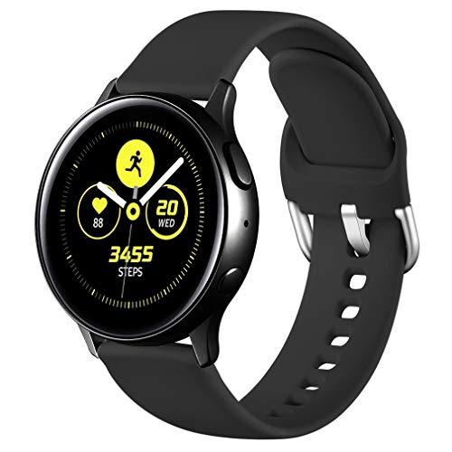 Wepro Armband Kompatibel mit Samsung Galaxy Watch Active/Active2 40mm/44mm, 20mm Weiche Silikon Ersatz Uhrenarmbänder Kompatibel mit Samsung Galaxy Watch 42mm/Galaxy Watch 3 41mm, Klein Schwarz