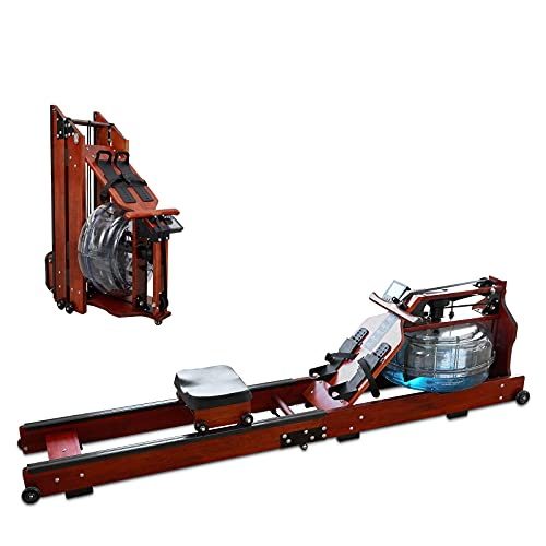 Water Rowing Machine, NEKL Foldable Wood Rowing Machine with LCD Monitor and Electric Pump for Home Gym Fitness, Whole Body Aerobic Exercise