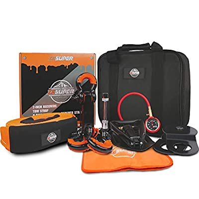 ZESUPER Recovery Kit Winch Accessory Kit?Recovery Tow Strap + D-Ring Shackles+ 8-Ton Snatch Block +Shackle Hitch Receiver +Trailer Hitch Lock+ Winch Dampener+Folding Survival Shovel+Tire Deflator