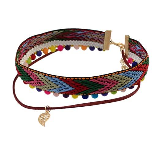 malyituk Collar bohemio, collar trenzado de colores, collar étnico, collar de banda para el cuello, collar de collar con dije de tamaño ajustable, estilo de ropa de calle