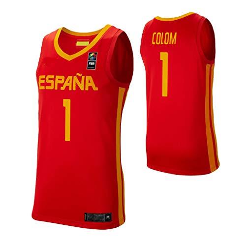 K&A Camiseta Quino Colom Selección Española de Baloncesto Rojo 2019 para Hombre & Niño (Rojo, Hombre XL)