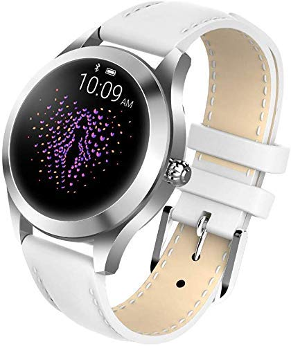 Smart Watch KW10,Runder Touchscreen IP68 wasserdichte Smartwatch für Frauen, Fitness Tracker mit Herzfrequenz- und Schlaf-Pedometer,Armband Für IOS/Android (White Belt)