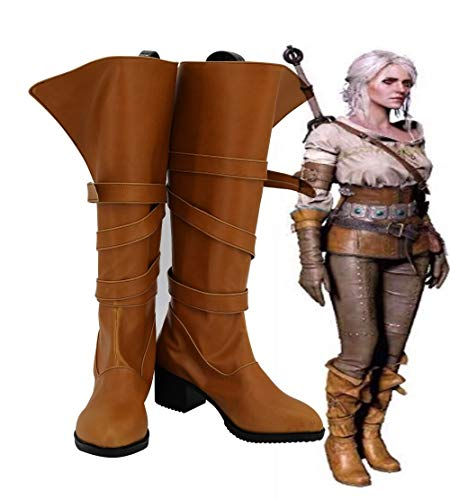 Cirilla Fiona Elen Riannon Ciri Cosplay Boots Brown Shoes High Heels For Adult Women Girls Custom Made Any Size 37 Male Size