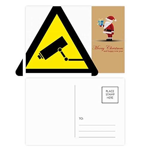 Warnsymbol gelb schwarz Monitor Kamera Dreieck Santa Claus Postkarten-Set Dankeskarte Mailing 20 Stück