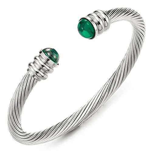 COOLSTEELANDBEYOND Elástica Ajustable Clásico, Pulsera de Hombre Mujer, Brazalete de Acero Inoxidable, Cable de Acero, con Verde Perlas