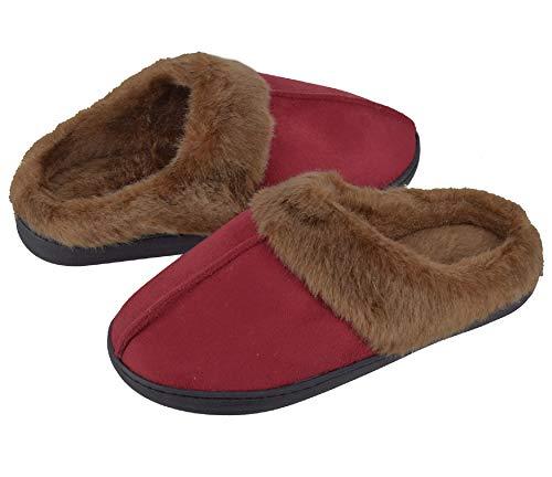 UMIPUBO Hombre Zapatillas Casa Mujer Invierno Antideslizantes Espuma de Memoria de Alta Densidad Cálido Interior al Aire Libre Forro de Felpa Suela Antideslizante Zapatos (Vino Tinto, Numeric_37)
