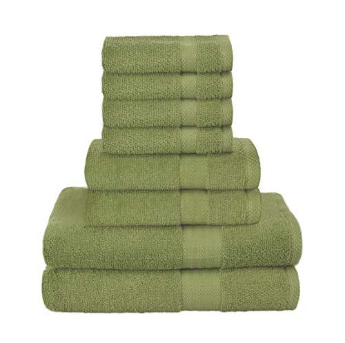 GLAMBURG Set Asciugamani da 8 Pezzi - 100% Cotone, Contiene 2 Asciugamani da Bagno Oversize 68x137, 2 Asciugamani 40x71, 4 Panni da Lavaggio 33x33 cm - Ideale per l'uso Quotidiano - Verde