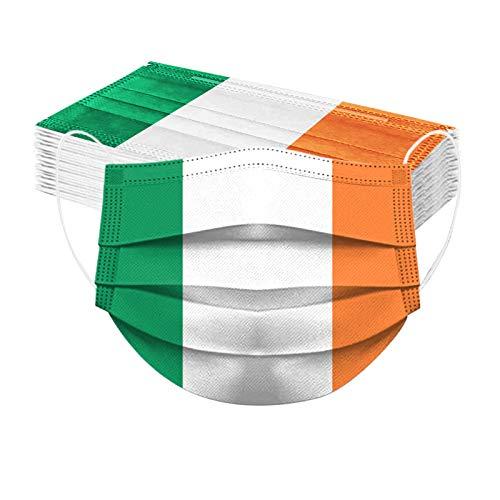 St Patrick's Day Printed Mundschutz Irland Kleeblattfahne Einmal-Gesichtsmaske Staubdicht 3-lagig Mund-Nasen-Schutz Multifunktion Bandana Bedeckung Halstuch fur Männer und Frauen (30PC)