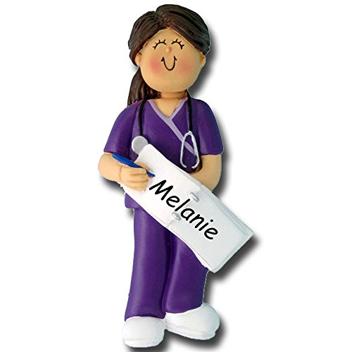 Personalized Brunette Female Nurse Doctor Medical Technician Assistant in Purple Color Scrubs with Stethoscope Hanging Christmas Tree Ornament - Medical Appreciation Gift with Custom Name