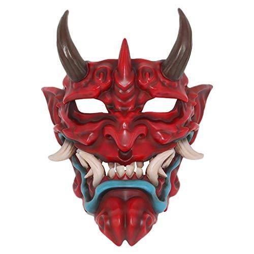 AmaMary Máscara Japonesa, Resina Japonesa Prajna Máscara de Halloween Colección de Ropa Máscara para Colgar en la Pared (Rojo)