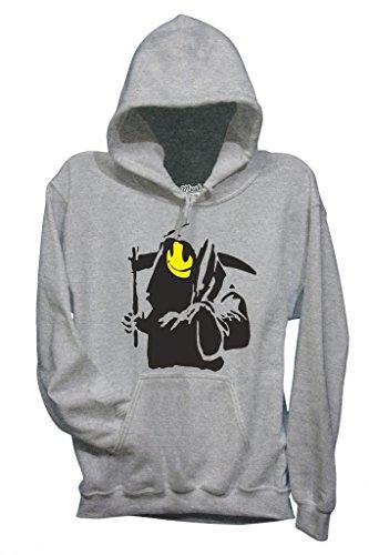 Sweatshirt Banksy Death Smile - Fameux By Mush Dress Your Style - Homme-L-Gris