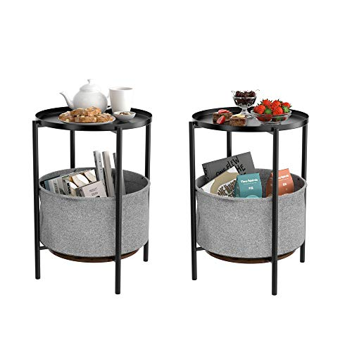 Homfa Round Side Table Set of 2 Storage End Table Metal Nightstand Sofa Snack Coffee Table with Removable Fabric Storage Basket for Living Room Bedside Black