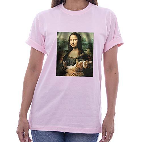 Camiseta T-shirt Camisa Monalisa Gato Arte Quadro Tumblr (P, ROSA)