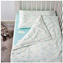 Ikea Himmelsk 4-piece Turquoise Blue Crib Bed Linen set