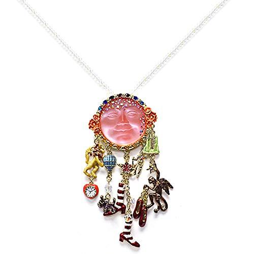 Kirks Folly SEAVIEW GODDESS MOON WIZARD OF OZ PIN PENDANT BEADED NECKLACE goldtone / pink